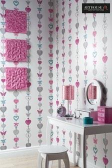 Arthouse White Tiffany Stripe Childrens Wallpaper