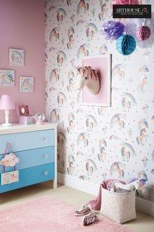 Arthouse White Rainbow Unicorn Childrens Wallpaper