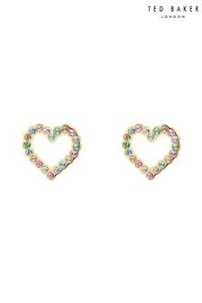 Ted Baker Gold Leenah Crystal Heart Stud Earrings