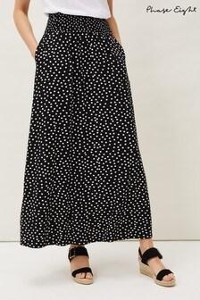 Phase Eight Black Connie Spot Print Maxi Skirt