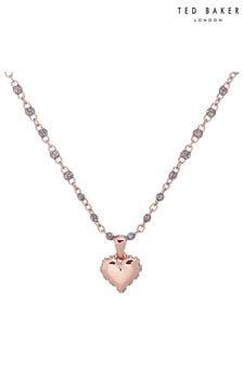 Ted Baker Pink Saraah Sparkle Heart Enamel Chain Pendant