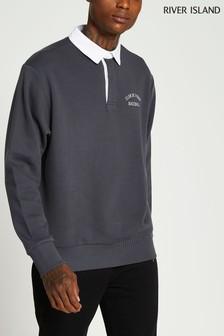 River Island Dark Grey Plain Sweat Rugby Shirt