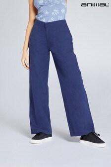 Animal Navy Beachwalk Womens Sustainable Linen Beach Trousers