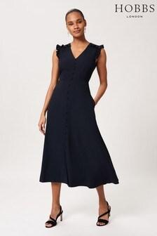 Hobbs Blue Vivien Satin Dress