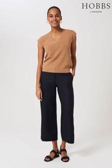 Hobbs Blue Linen Nicole Crop Trousers