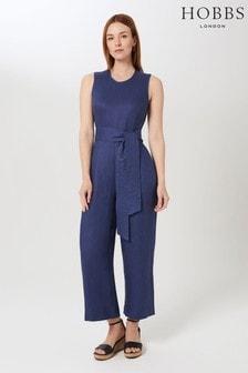 Hobbs Blue Linen Gabbie Jumpsuit