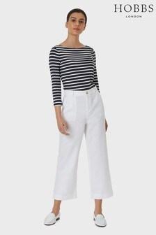 Hobbs White Linen Blend Luzia Trousers