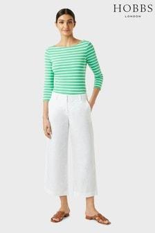 Hobbs White Linen Nicole Crop Trousers