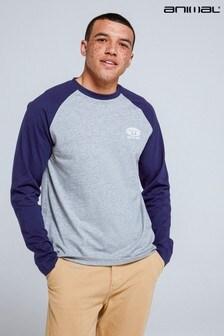 Animal Khaki Sander Marl Organic Mens Raglan T-Shirt