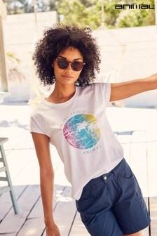 Animal White Summer Sun And Surf Organic Womens T-Shirt