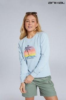 Animal Pale Blue Mila Palm Sunset Organic Women's Sweatshirt