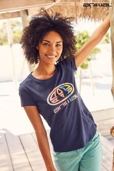 Animal Navy Marina Claw Logo Organic Womens Fitted T-Shirt