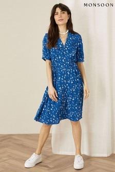 Monsoon Blue Animal Print Shirt Dress