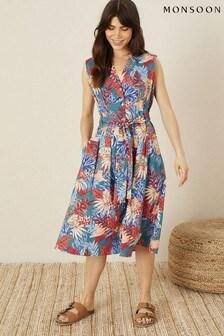 Monsoon Teal Floral Poplin Midi Dress