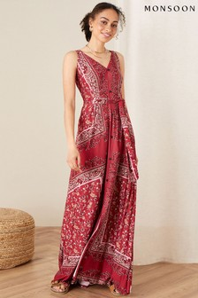 Monsoon Red Scarf Print Jersey Maxi Dress