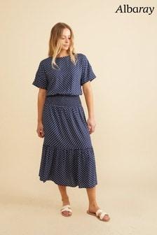 Albaray Navy Spot Shirred Waist Dress