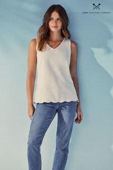 Crew Clothing Company White Scallop Linen Vest