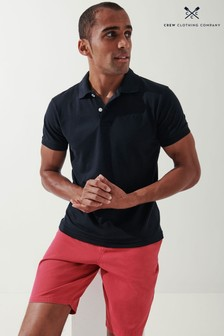 Crew Clothing Company Black Luxe Short Sleeve Polo Shirt