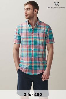 Crew Clothing Company Pink Short Sleeve Lydden Multi Check Shirt