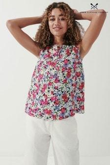 Crew Clothing Company Pink Print Linen Vest