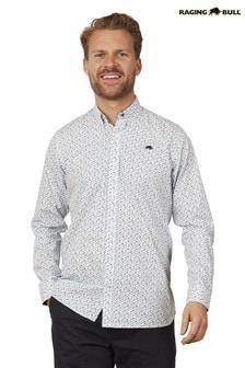 Raging Bull White/Purple Long Sleeve Micro Floral Shirt