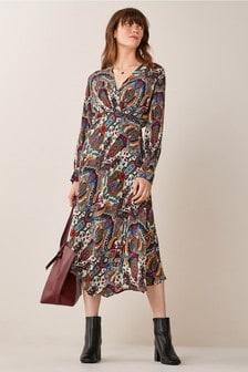 Emme Marella Black Osaka Paisley Print Dress