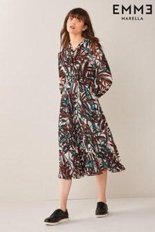 Emme Marella Red Desy Geo Print Dress