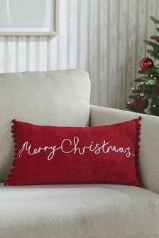 Red Merry Christmas Soft Velour Cushion