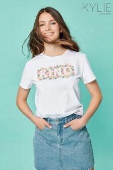 Kylie Teen White Kind Slogan T-Shirt