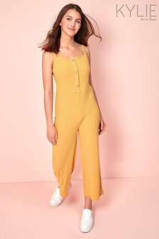 Kylie Yellow Teen Rib Button Jumpsuit