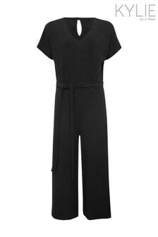 Kylie Teen Black Cropped Rib Jumpsuit