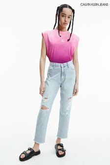 Calvin Klein Jeans Blue Distressed Mom Jeans