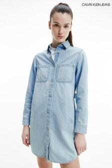 Calvin Klein Jeans Blue Relaxed Shirt Dress