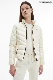 Calvin Klein Jeans Cream Glossy Padded Puffer Jacket