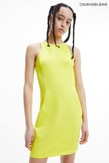Calvin Klein Jeans Yellow Micro Branding Racer Back Dress