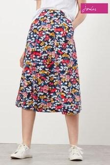 Joules Eden Print Jersey Midi Skirt