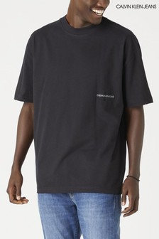 Calvin Klein Jeans Black Off Placed Oversized Tee