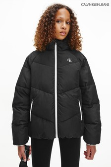 Calvin Klein Jeans Older Girls Black Relaxed Puffer Jacket