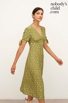 Nobodys Child Green Floral Alexis Tie Sleeve Midi Dress