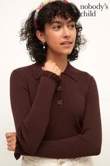 Nobody's Child Womens Dark Brown All Over Rib Collar Long Sleeve Top