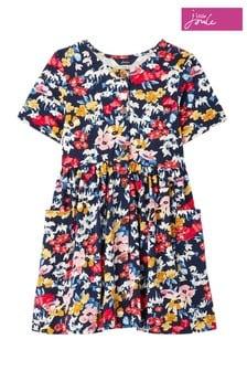 Joules Blue Liddie Jersey Button Through Smock Dress