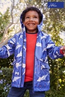 Joules Blue Skipper Showerproof Printed Rubber Raincoat 1-12 Years