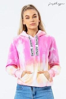 Hype. Pink Tie Dye Drawcord Women's Pullover Hoodie