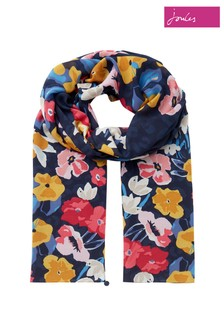 Joules Blue Eco Conway Lightweight Printed Scarf
