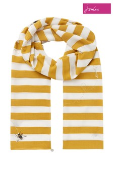 Joules Yellow Eco Conway Lightweight Printed Scarf