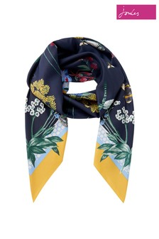 Joules Blue Agatha Large Printed Square Scarf