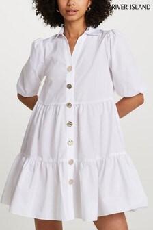 River Island White Short Sleeve Tier Shirt Mini Dress