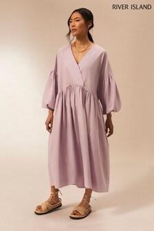 River Island Purple Light Cotton Oversized Dress