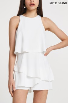 River Island White Sleeveless Frill Layer Playsuit