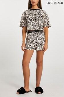 River Island Beige Leopard Print Jersey Pyjama Set